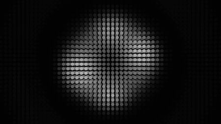 Abstract panel with many rows of LED bulbs performing white dance from the center of the screen to its edges. Animation. Neon monochrome spotlight, illuminating small circles, seamless loop. Standard-Bild - 130915117