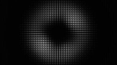 Abstract panel with many rows of LED bulbs performing white dance from the center of the screen to its edges. Animation. Neon monochrome spotlight, illuminating small circles, seamless loop.