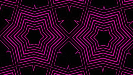 Abstract colorful digital kaleidoscopic loopable motion graphic background, seamless loop. Animation. Futuristic psychedelic purple hypnotic flashing stars. Stock Photo