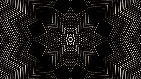 Monochrome kaleidoscopic pattern with rotating stars, squares and rhombuses, seamless loop. Animation. Transforming and changing white geometric figures on black background.
