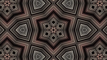 Moving geometric kaleidoscope pattern on black background, seamless loop. Animation. Abstract motion of different transforming red and beige figures.