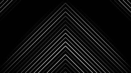 Raggi di luce laser al neon bianchi incandescenti rivolti verso l'alto e che scorrono verso l'alto su sfondo nero, loop senza soluzione di continuità. Animazione. Molte linee strette a forma di triangolo, monocromatiche.