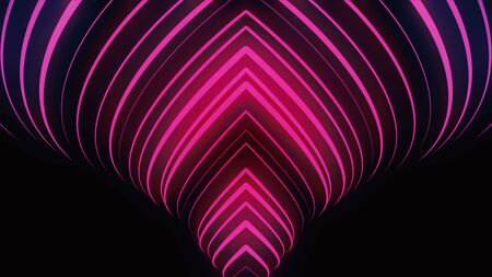 Side view of rotating an abstract vortex formed by bright pink narrow neon lines, seamlessloop. Animaion. Singularity, gravitational waves and spacetime concept, black background. Banque d'images - 130357762