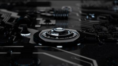 Beautiful monochrome motherboard with flashing light signals and working processors. Animation. Abstract circuit board with many moving black and white details.