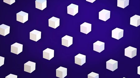 Abstract white cubes flowing diagonally on dark blue background, 3D effect. Animation. White figures looking like sugar, sweet crystal cubes moving in rows, seamless loop.