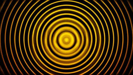 Golden radio wave, radar or sonar, hypnotic effect, seamless loop. Animation. Rotating bright yellow rings on black background.