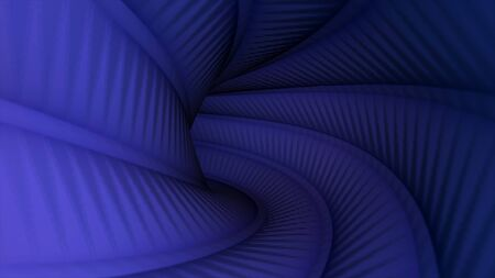 Moving slowly through colorful twisted tunnel with convex longitudinal stripes, seamless loop. Animation. 3D view inside a curved pipe of blue color. 版權商用圖片