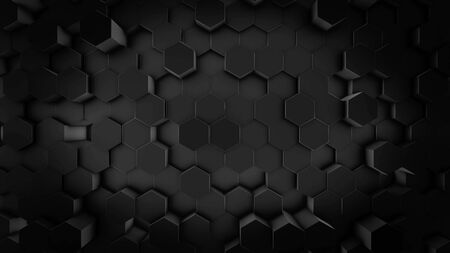 Abstract futuristic surface with the rows of moving black hexagon figures, geometric pattern, seamless loop. Animation. Unusual shapes looking like honeycomb, monochrome pattern.