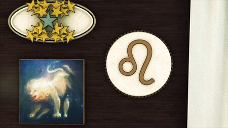 Abstract design of the room interior with the golden stars, round Leo zodiac sign and the image of a lion on brown wall background. Animation. Astrological element of fire.