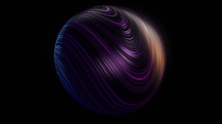 Abstract 3D ball covered with many narrow curved lines rotating isolated on black background, seamless loop. Animation. Beautiful sphere with many bended neon stripes.