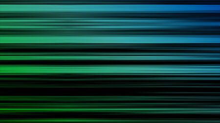 Motion background with narrow lines, striped pattern, seamless loop. Animation. Abstract gradient lines in horizontal movements blue and green color on black background.