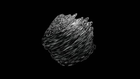 Abstract rotating surreal textured sphere moving isolated on black background, monochrome. Animation. 3D unusual spinning complex geometric object, seamless loop. Zdjęcie Seryjne