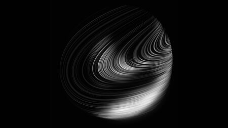 Abstract shining black and white lined sphere rotating on black background. Animation. Breathtaking silver 3D ball covered with curved flashing lines, seamless loop.
