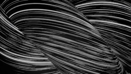 Abstract neon narrow lines in the form of twisted tubes moving and rotating on black background, seamless loop. Animation. Bright white 3D figures of shining stripes of light, monochrome. Zdjęcie Seryjne