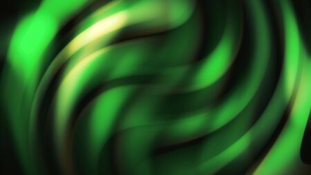Abstract futuristic bright green neon wavy lines motion design, seamless loop. Animation. Curved flowing blurred waves moving on black background.