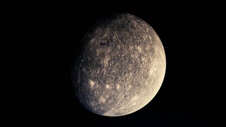 Abstract moon surface, rotating celestial body in outer space. Animation. Astronomical background of the moon, 3D grey sphere lit by the sunlight.