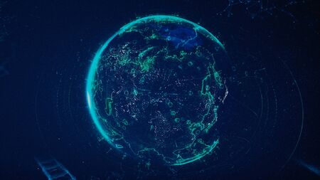 Digital data globe, abstract 3D scientific and technological background. Animation. Earth planet surrounded by schematic bridges of dots and lines, plexus style, communication concept.