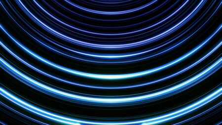 Neon colorful bended lines blinking on black background, seamless loop. Animation. Arc shaped narrow stripes of blue and lilac colors moving and shimmering. Imagens