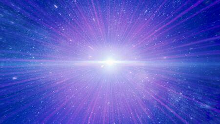 Abstrakter kreativer kosmischer Hintergrund, der sich durch die Weltraumgalaxie bewegt. Animation. Lichtgeschwindigkeit, nahtlose Reise durch ein Wurmloch, Zeit und Raum mit Millionen von Sternen und Nebeln.