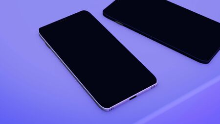 Two abstract modern smart phones with the biometric protection - place to apply finger and to scan fingerprint for verifying identity. Animation. Two black devices lying on purple background.