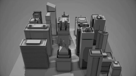 Abstract digital 3D model of the city district with houses ans skyscrapers on grey background. Construction and design concept, modern buildings model, monochrome. Stok Fotoğraf