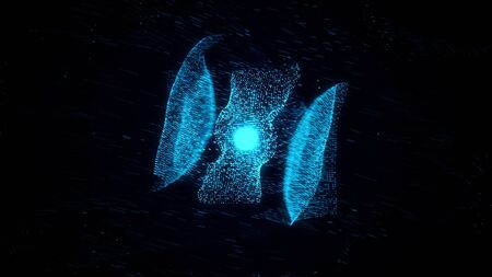 Abstract blue beautiful neon cloud of dots flying in an organized way in space and forming a figure with a kernel on black background. Animation. Flight of small particles in space.