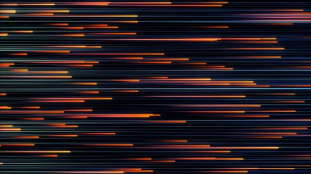 Abstract background of fast moving bright neon lines. Animation. Beautiful colorful glowing lines move horizontally on black background.