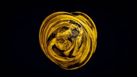 3D circle of plastic lines. Animation. Abstract 3D ball wound from plastic lines rotates on black background. 3D textured sphere of plastic lines reminiscent of honey texture. 免版税图像