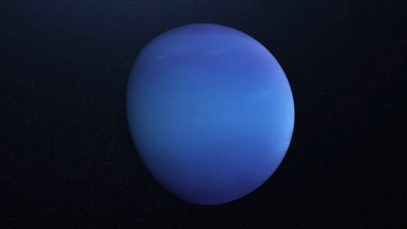 Abstract animation of planet Neptune. Animation. Abstract surface of solid blue planet Neptune in cosmic stellar space. Planetary animation with rotating planet Neptune.