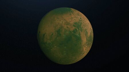 Abstract animation of surface of green planet. Animation. Green planet with crater surface and irregularities rotates on background of stellar space.