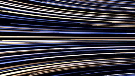 Colorful flashing neon lines in many horizontal bended rows flowing fast on black background, seamless loop. Animation. Parallel light rays moving endlessly.