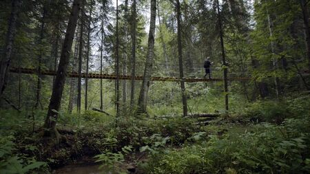 Two travelers walk on suspension bridge in green forest. Stock footage. Travelers cross suspended wooden bridge in dense green forest
