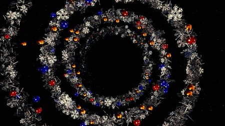 Christmas or New Year wreath spiral spinning on black background, seamless loop. Animation. Abstract blue garland of snow flakes and Christmas tree decorations.