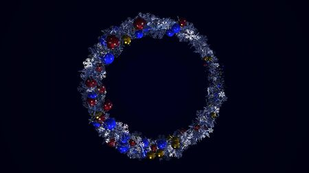 Abstract rotating circle becoming a New Year wreath on black background, winter holidays concept. Animation. Beautiful garland with Christmas toys and snow flakes.