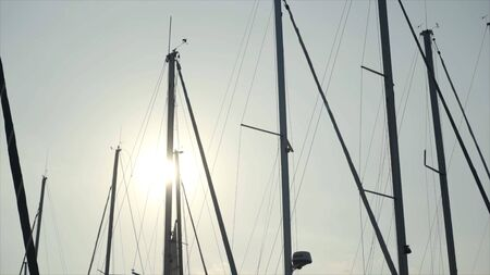 Beautiful view of masts of ships on background of sun and blue sky. Action. Masts of yachts are illuminated by warm sunlight beckoning to sea journey