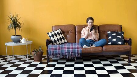 Beautiful young woman sitting on sofa with phone. Stock footage. Attractive woman flipping through news feed on phone sitting in cozy living room Stockfoto