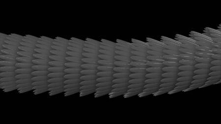 Seitenansicht eines abstrakten grauen Schlangenkörpers, der sich auf schwarzem Hintergrund bewegt, nahtlose Schleife. Nahaufnahme von Skalen, bewegende 3D-Schlange. Standard-Bild