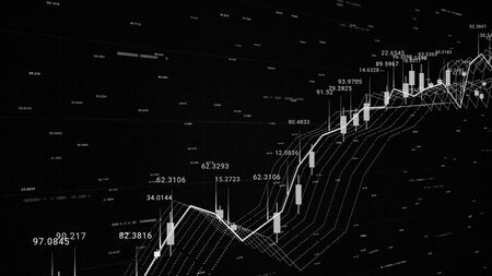 3d financial background with all the data and graphics, growth and decline, finance and economics concept. Monochrome financial chart background, stock market statistics on the screen. Stock fotó