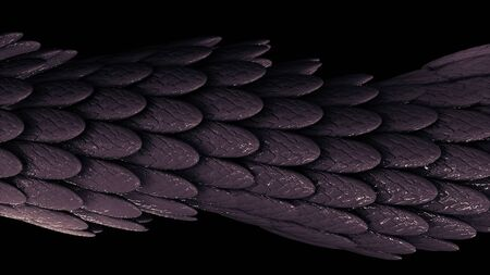 Abstract elegant purple moving tube of many feathers covered by sticky substance on black background, seamless loop. Animation. Many small oval shaped feathers. Stock fotó
