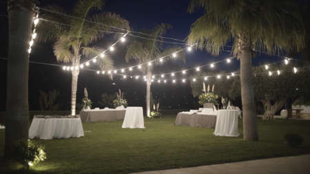 Decorated Park for weddings. Action. Beautifully decorated wedding ceremony location under a large trees