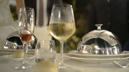 Close-up buffet on the table. Action. A part of elegant table setting in luxury restaurant Stock Photo