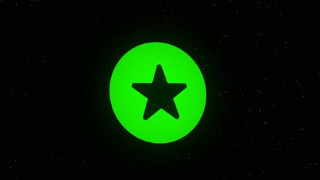 Animation icon with a star on a black background. Animation. Colored round icon with a star is sprayed into small particles Stock fotó