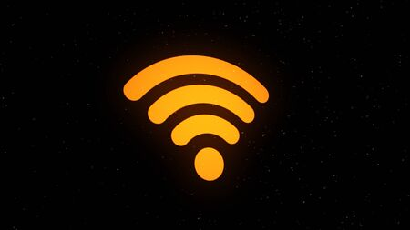 WiFi icon animation. Animation. Wi Fi icon that crumbles into rotating dots