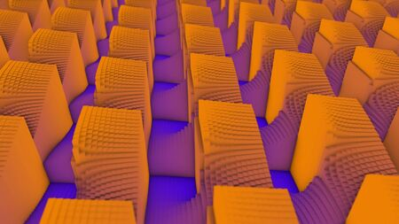 Abstract background of colored cubes on the floor. Animation. Multicolored abstract animation of colorful cubes moving smoothly in space and forming the waves