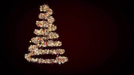 Golden lights spiraling to the form of an abstract Christmas tree with children toys and garland of snowflakes. Animation. Rotating New Year spruce on black background. Stock fotó