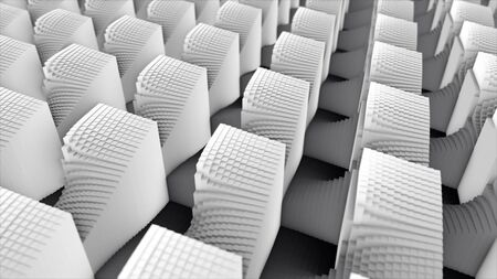 Black and white checkered flat surface becoming abstract 3d geometric shapes in rows. Animation. Many small convex cubes forming many large figures of same size, monochrome. Stock fotó