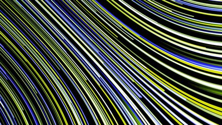 Abstract background of moving multicolored neon lines on black background. Animation. Curved colored line moving quickly in stream Stock fotó