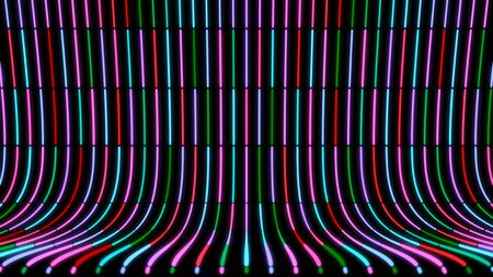 Abstract curved background with moving neon colored lines on black background. Animation. Hypnotic curved background with fast moving neon lines in stream