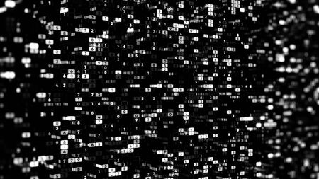 Abstract black and white background with the data in many rows of changing numbers, seamless loop. Animation. Digital display, technology and electronic devices concept. Stock fotó