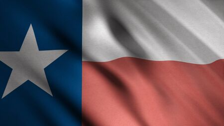 Realistic Texas United States of America state flag waving in the wind, seamless loop. Animation. Highly detailed fabric texture of flying flag with a star.
